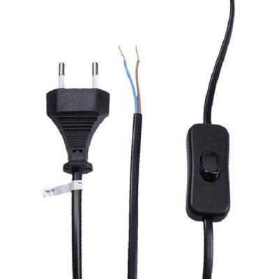 Solight flexo šňůra, 2x 0,75mm2, černá, plochá, vypínač, 3m s vypínačem