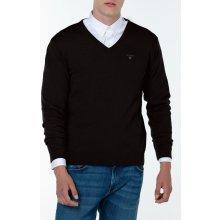 Gant Pánský svetr LT. WEIGHT COTTON V-NECK černá S