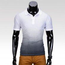 Pánské tričko s límečkem a krátkým rukávem Roscoe bílo-tmavě