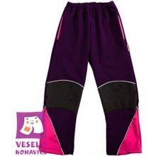 11152f2ec1c Veselá Nohavice Dětské softshellové kalhoty celoroční tmavěfialovo-růžové