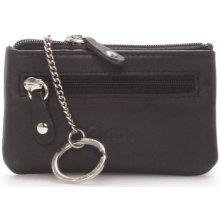 Delami Peněženky Malá kožená klíčenka černá 9946 Černá