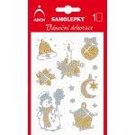 Arch Holografické dekorační samolepky vánoční s glitry 705-GG zlato-zlaté 8,5x12,5 cm