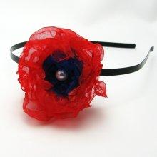 Červenočerná květina, ruční práce