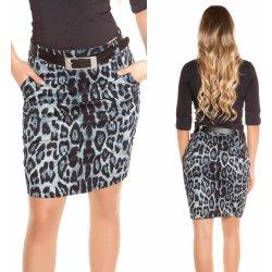 2c93e3344779 Dámská sukně Koucla pouzdrová leopardí sukně s páskem šedá