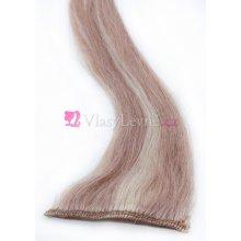 027/613 - Melírované(tmavé/nejsvětlejší blond), lidské vlasy k prodloužení - Clip-in, 50 cm