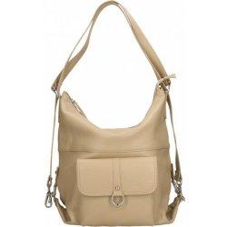 Vera Pelle praktická kožená větší béžová taupe kabelka a batoh v jednom  karin two 20011 54cb98c967c