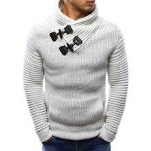 Bílý pánský teplý svetr s ozdobnými přezkami (wx0969)