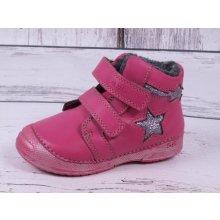 D.D. step kožené barefoot 038-252A růžové s hvězdičkou d885858f32