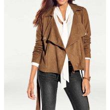 Heine Bc návrhářská bunda imitace semiše camel