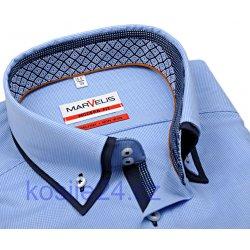 d1ab6f589461 Marvelis Modern Fit košile se světle modrým mini kárem a dvojitým límcem