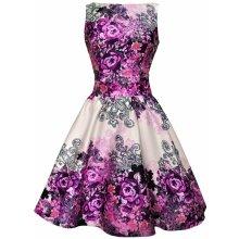 Lady V London Retro šaty TEA Purple Rose Floral