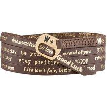 We Positive Tmavě hnědý wrap náramek s nápisy Vintage Glamour 163 Dark brown