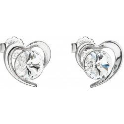 Evolution Group náušnice pecka s krystaly Swarovski bílé srdce 31259.1 f88fcbf839