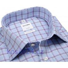 Olymp Luxor Comfort Fit světle modrá košile s modro-fialovým kárem 96a4a37716