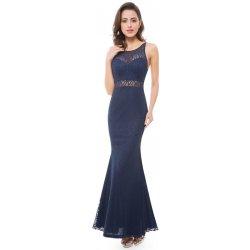 Ever Pretty krajkové šaty s průsvitným pasem EP08837BK námořnicky modrá 8ac3c267a33