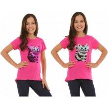Tričko měnící flitry kočka tmavě růžové