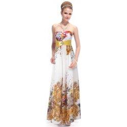dlouhé letní šaty bez ramínek se žlutým potiskem Bílé alternativy ... 8d874511d2