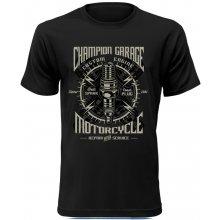 Pánské motorkářské tričko Champion Garage černé