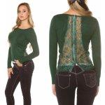 e439206da63 KouCla Dámský svetr se zipem krajkou a kamínky zelený
