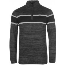 Lee Cooper Quarter Zip Knit Jumper Mens Charcoal Marl