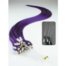 Fialové, lidské vlasy k prodloužení, Micro ring, 45 cm, 25 pramenů