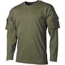 MFH US olivové dlhé tričko s velcro kapsami na rukávech 170g/m2