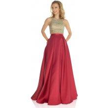 Společenské šaty s vínovou sukní Jora Nia 88d89eff8c