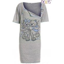 těhotenská kojící noční košile kočky šedá/modrá
