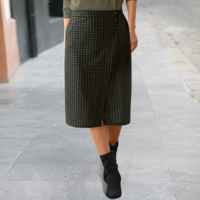 Blancheporte pouzdrová sukně s potiskem kostičky bronzová černá