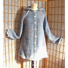 Kabátek kapucí modrošedý