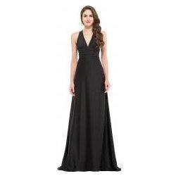 c3de009aaee7 večerní saténové šaty překřížené na zádech Černé alternativy ...