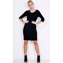 Basic šaty s průstřihy na ramenou 85201 černá 131a41739e