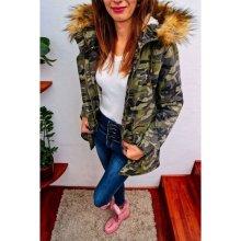 Maskáčová zimní dámská army bunda s kožešinou