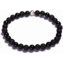 Lavaliere pánský korálkový náramek černá láva matný a lesklý achát 08601