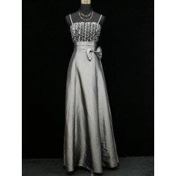 Stříbrné šedé dlouhé Společenské šaty na ramínka na ples alternativy ... 09d21c997d