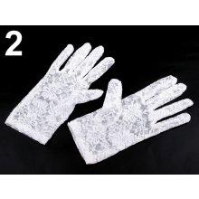 Společenské rukavice 21 cm krajkové bílá