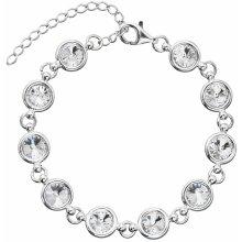 Evolution Group stříbrný náramek se Swarovski krystaly bílý 33089.1