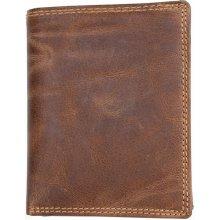 Prostorná peněženka z pevné hovězí kůže bez podšívky
