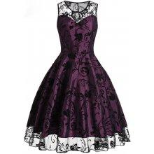 Dámské retro šaty se sametovým potiskem e23649715cb