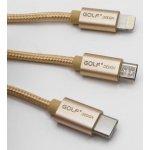 Golf GC-39 3v1 microUSB/Lightning/USB-C, 1m, zlatý