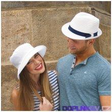 Karpet Unisex papírový klobouk pánský styl jednobarevný zdobený stuhou bílá  7011700 6fdd4bed01
