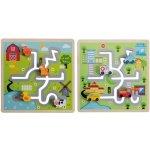 Johntoys dřevěný labyrint puzzle město farma
