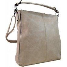 Moderní dámská kombinovaná kabelka se stříbrnou linkou 3067-DE béžová
