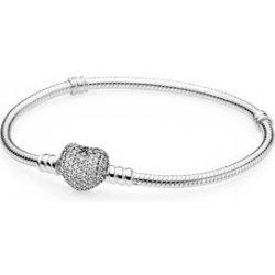 Moments náramek Pavé srdce sterlingové stříbro kubická zirkonie 590727CZ 3a995067053