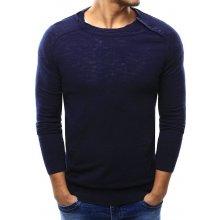 Pánský tmavě modrý svetr s knoflíky na ramenou (wx1003)