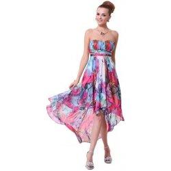 Barevné letní společenské šaty asymetrické bez ramínek vpředu kratší vzadu  delší f5959554db1