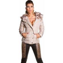 KoucLa1261 luxusní dámská zimní bunda s kapucí béžová