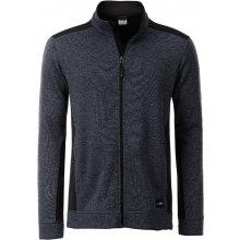 3777d0a323b7 JAMES   NICHOLSON Pánská mikina Knitted Workwear Fleece JAcket Carbon melír  černá