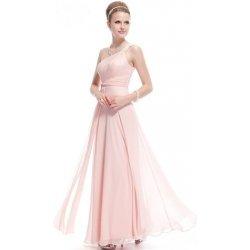 Růžové dlouhé svatební společenské šaty na jedno rameno 1e47332987