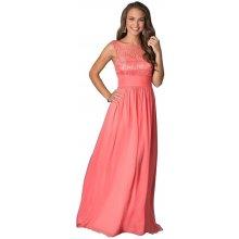 LM moda šifonové šaty dlouhé s krajkou 84-4 lososová ee1af620bab